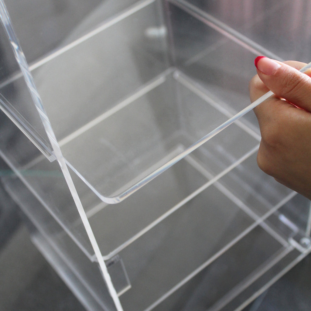 Acrylic Lockable Showcase Display Stand with 3 Removable Shelves