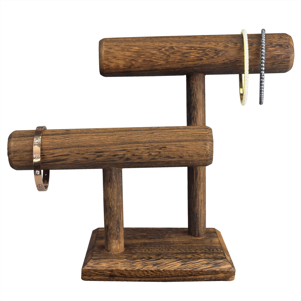 Ikee Design® 2 Tier Wooden T Bar Jewelry Bracelet Watch Display
