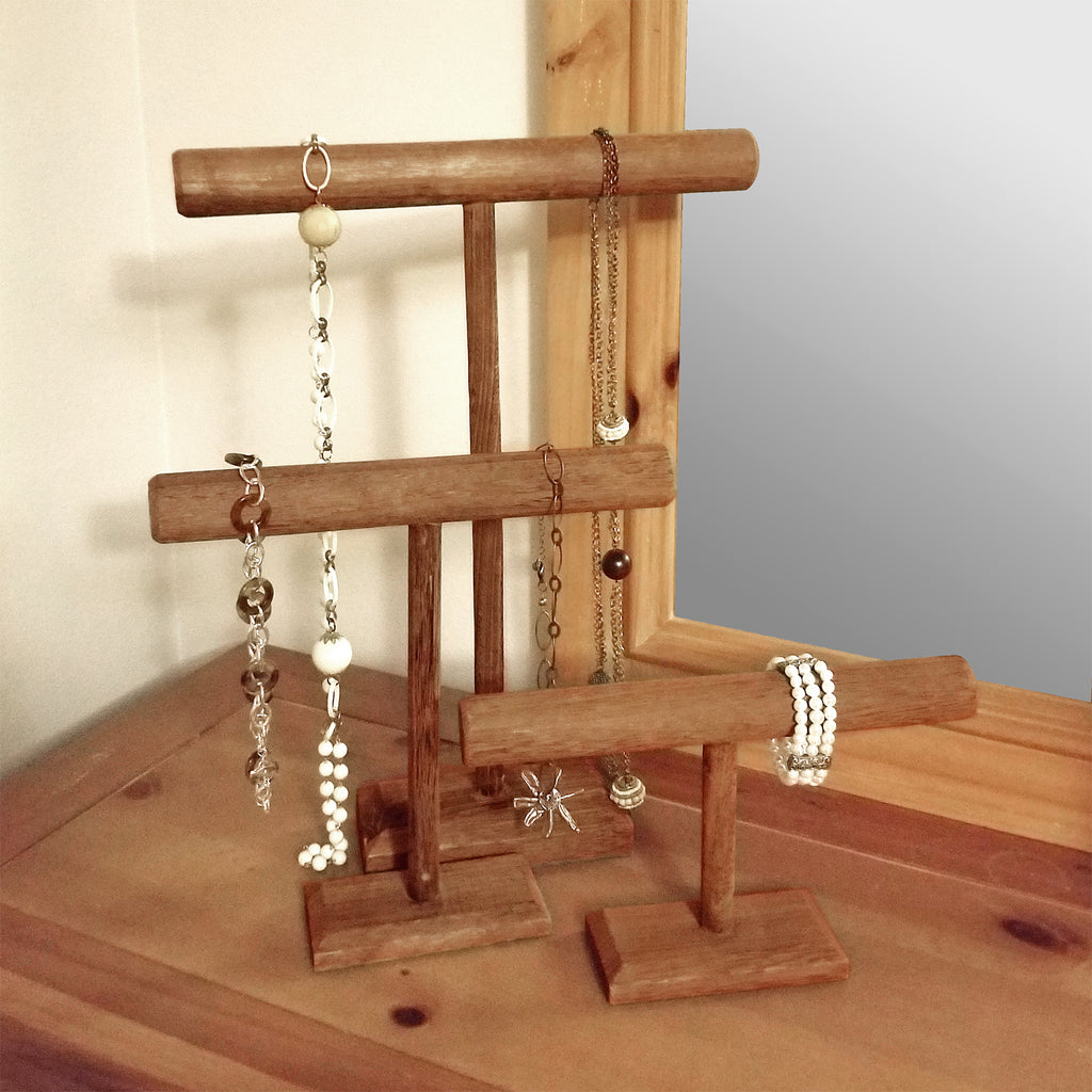 Ikee Design® Antique Wooden Handmade Short T-bar Jewelry Display Stand