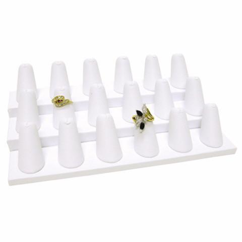 "Ikee Design®Regal Pak One Piece White Faux Leather 18 Finger Ring Stand 8 1/4"" X 4 3/4"" X 2 1/2""H 