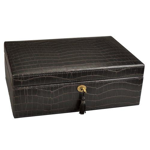 "Ikee Design®Luxury Jewelry Leatherette Jewelry Lockable Box. Espresso Brown Crocodile Pattern. 11""W x 7 1/2""D x 4""H 