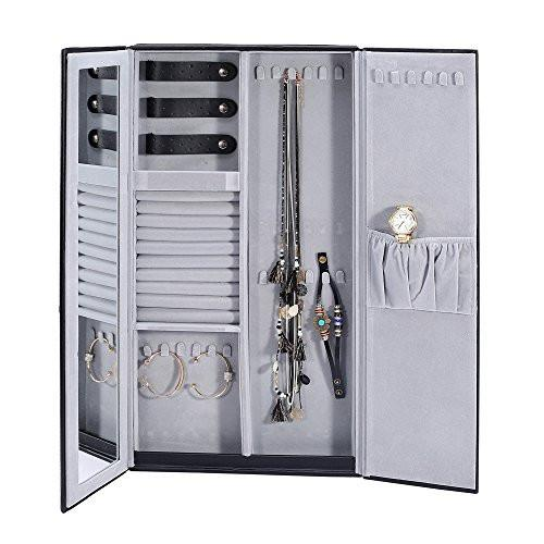 Ikee Design® Wall Mount Faux Leather Jewelry & Accessory Cabinet Box Display Organizer