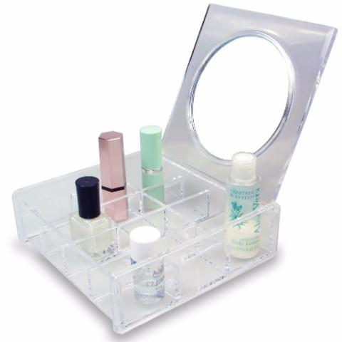 Ikee Design® Acrylic Traveling Makeup Case with Mirror Lid
