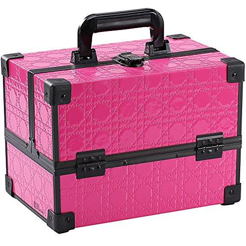 Ikee Design® White Cosmetic Travel Carrying Case with Sturdy Black Aluminum Frame with FREE Makeup Brush Set (Pink)