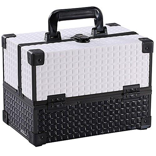 Ikee Design® White Cosmetic Travel Carrying Case with Sturdy Black Aluminum Frame with FREE Makeup Brush Set (White / Black) | Ikee Design