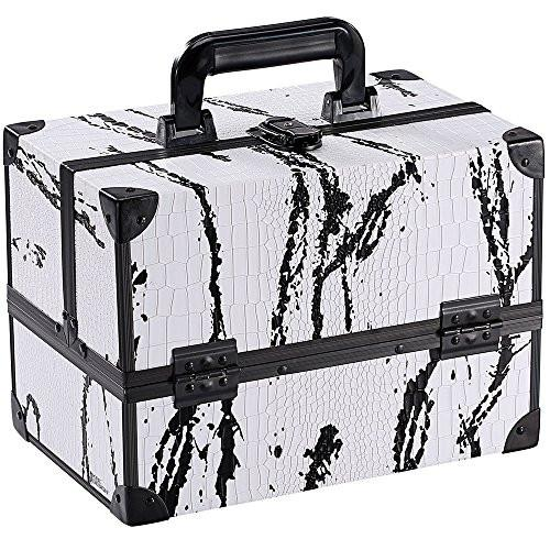 Ikee Design® White Cosmetic Travel Carrying Case with Sturdy Black Aluminum Frame with FREE Makeup Brush Set (White with Black Pattern) | Ikee Design