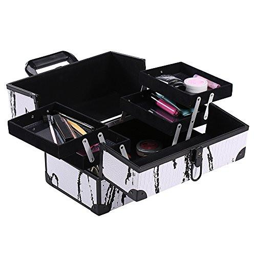 Ikee Design® White Cosmetic Travel Carrying Case with Sturdy Black Aluminum Frame with FREE Makeup Brush Set (White with Black Pattern)