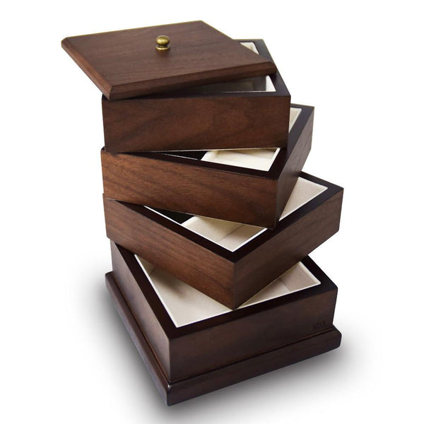 Ikee Design®Wooden Swivel Jewelry Box Organizer Storage for Necklaces, Bracelets, Earrings, Rings | Ikee Design