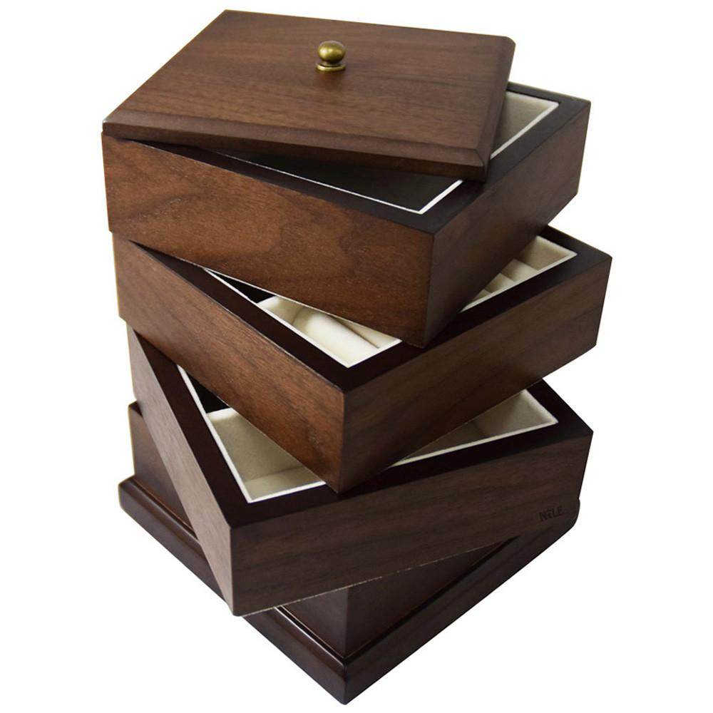 Ikee Design Wooden Swivel Jewelry Box Organizer Storage for Necklaces, Bracelets, Earrings, Rings