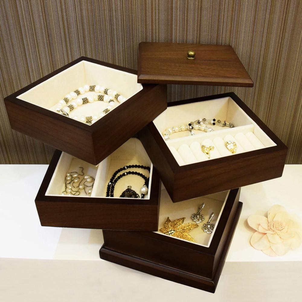 Ikee DesignWooden Swivel Jewelry Box Organizer Storage for Necklaces