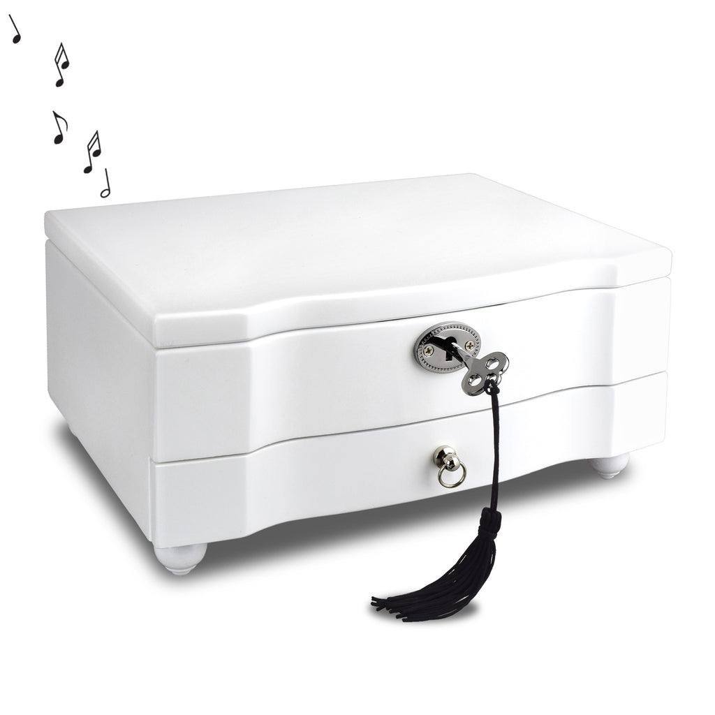 Ikee Design® Wooden Locking Musical Jewelry Box with White Matte Finish