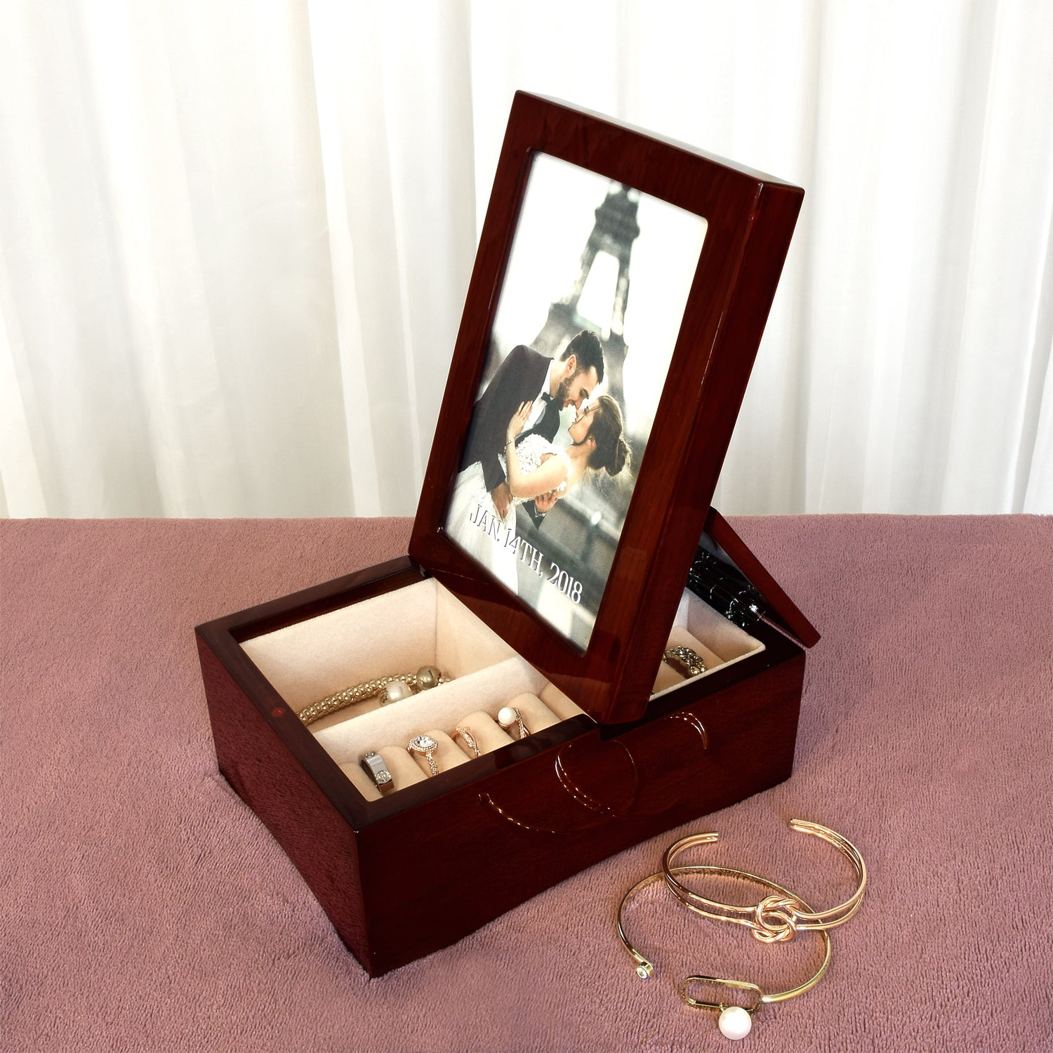 Ikee Design Personalized Wooden Glossy Rosewood Musical Jewelry Box