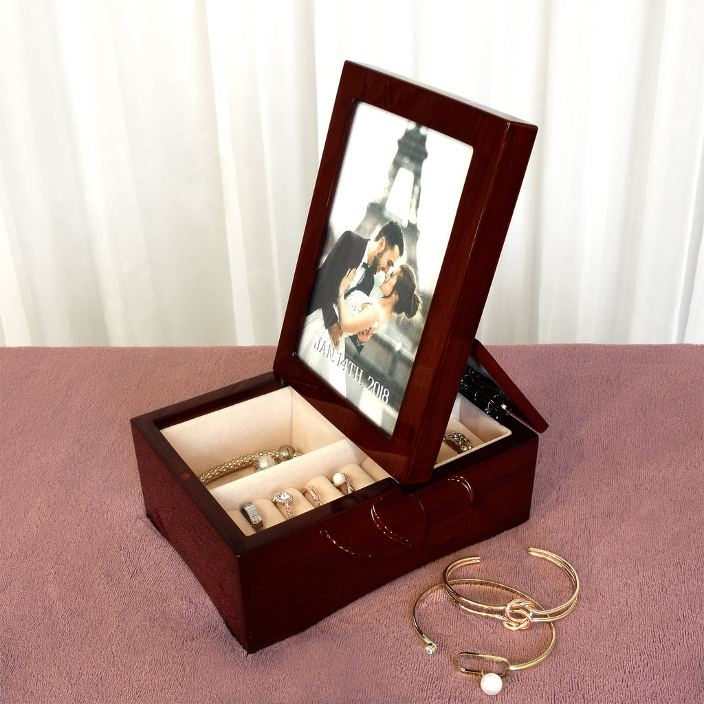 Ikee Design® Personalized Wooden Glossy Rosewood Musical Jewelry Box with Fold-up 4x6 Photo Frame