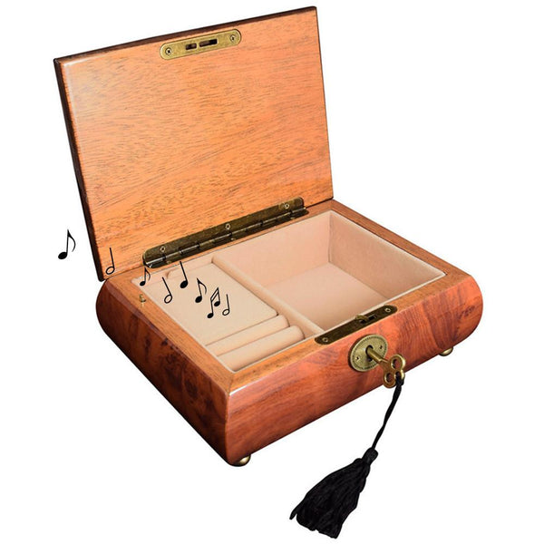 Ikee Design Wooden Musical Jewelry Box Organizer Storage with Lock and Key for Necklaces, Bracelets, Earrings, Rings