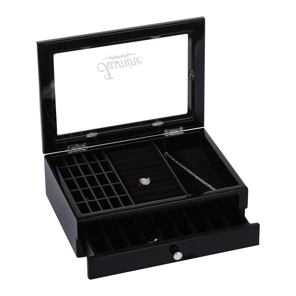Ikee Design® Personalized Wooden Black Jewelry Box