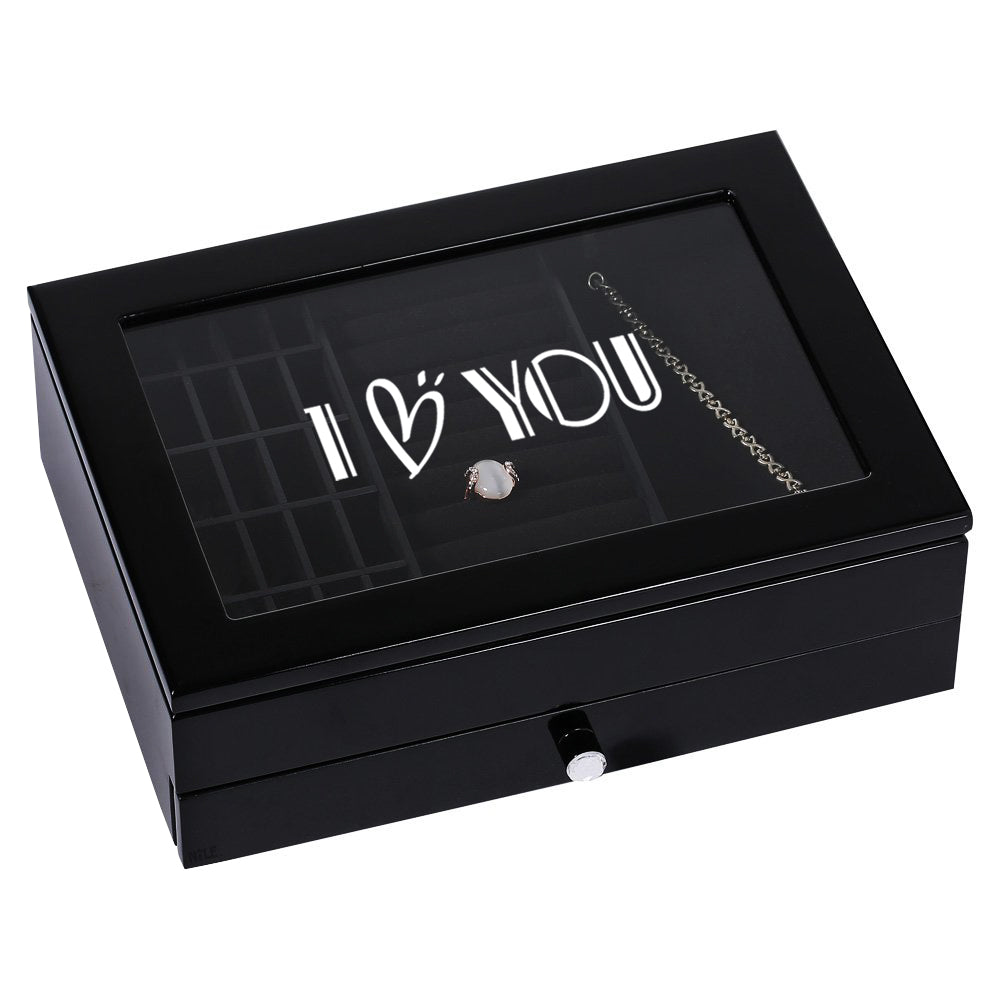 Ikee Design® Personalized Jewelry Box with Text Engraving, Black