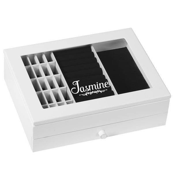 Ikee Design® Personalized Wooden White Jewelry Box