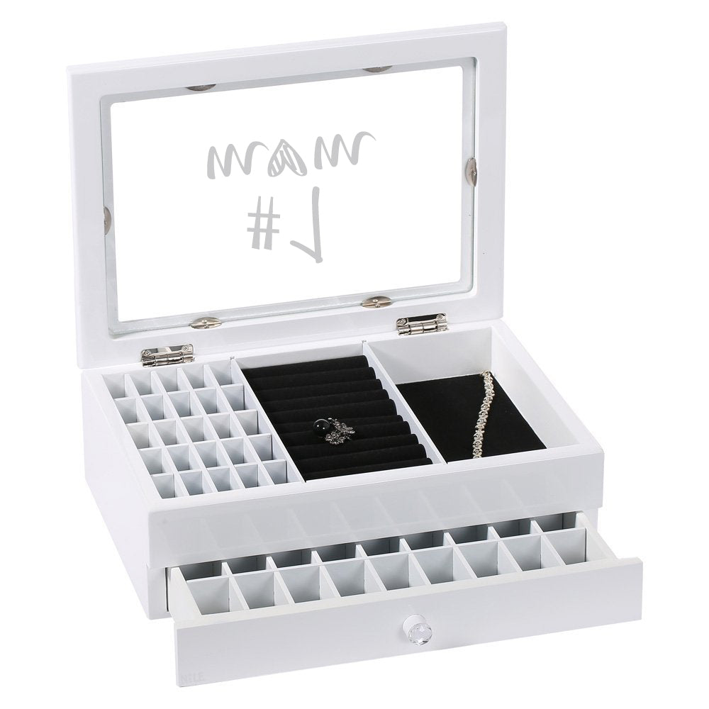 Ikee Design® Personalized Jewelry Box with Text Engraving, White
