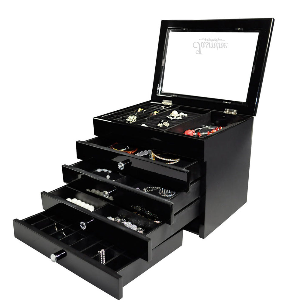 Ikee Design® Personalized Black Jewelry Storage Box with High Gloss Finish
