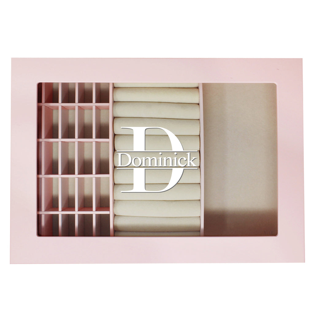 Ikee Design® Personalized Pink Jewelry Storage Box with High Gloss Finish