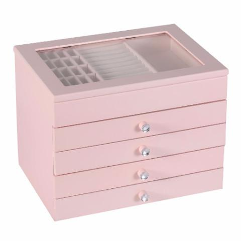 Ikee Design® High Gloss and Glass View Top Pink Wood Jewelry and Accessory Chest Box Organizer Storage Display with Drawers w/ Removable Dividers