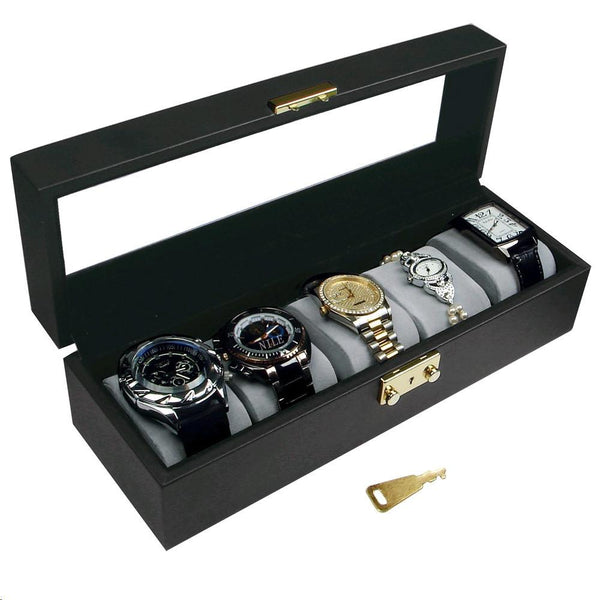 "Ikee Design®  Deluxe Watch Display Case Key Lock, Clear Glass Top. 11 5/8"" x 3 1/2"" x 3 1/4""H"