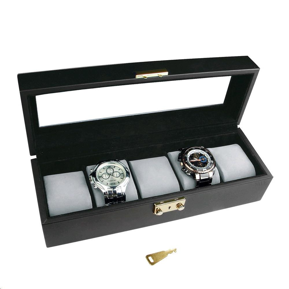"Ikee Design® Deluxe Leatherette Watch Display Case with Lock, 11 5/8""W x 3 1/2""D x 3 1/4""H"