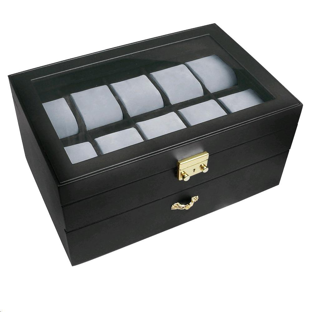 "Ikee Design®  Deluxe Black Watch Display Case With Key Lock, Clear Glass Top, 20 Watch Holders. 11 3/4"" x 8"" x 5 3/4"""