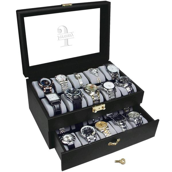 Ikee Design® Personalized Premium Leatherette Watch Case w/lock, for 20 Watches
