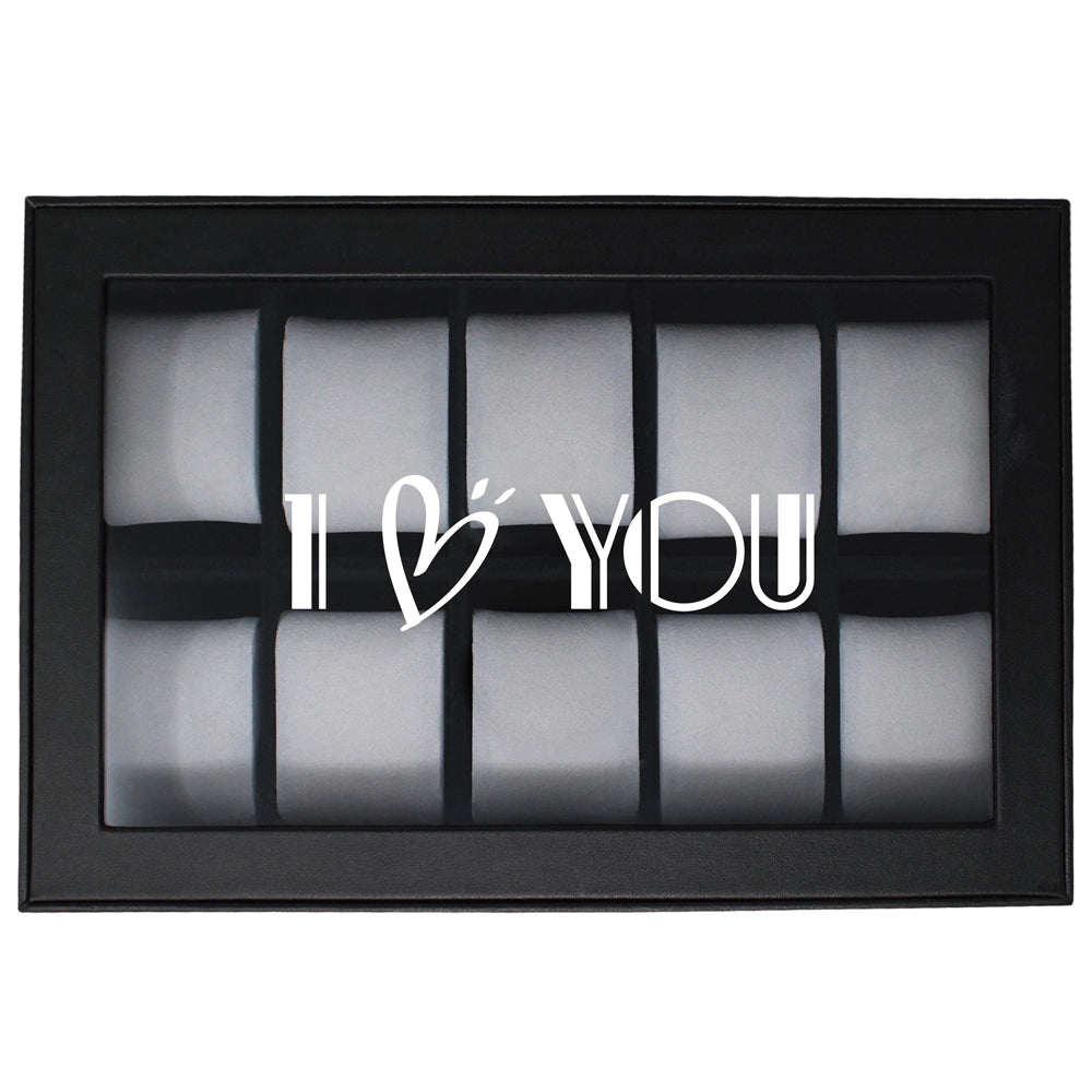 Ikee Design® Personalized Watch Display Case with Text Engraving