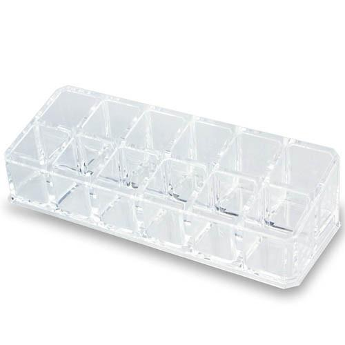 Ikee Design®  Clear Acrylic Lipstick Organizer with 12 compartments. 6 3/4''W x 2 1/2''D x 1 3/4''H | Ikee Design