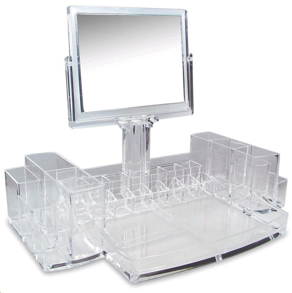 Ikee Design® Acrylic Makeup Organizer with Two-Sided Rectangle Mirror
