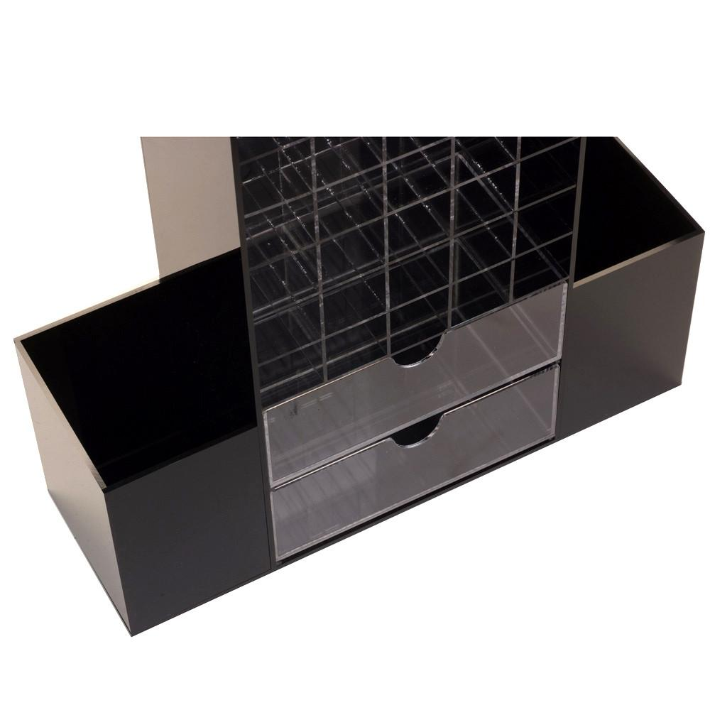 "Ikee Design® All in One Black Premium Acrylic Cosmetic Organizer Unit 9 7/8"" x 6 3/4"" x 13 1/2"" 