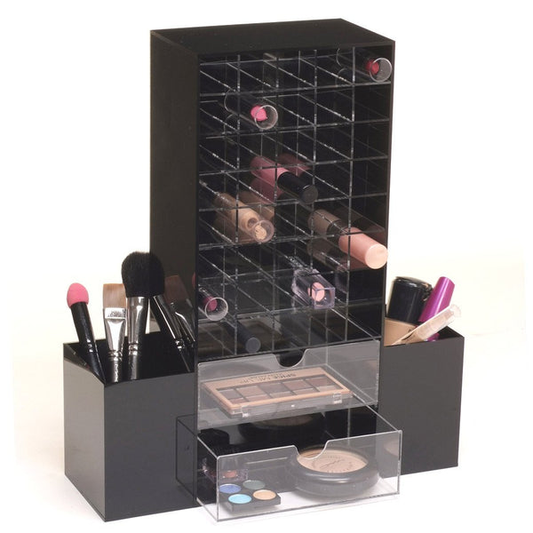 Ikee Design® Premium Black Acrylic Multi-functional Lipstick Tower Makeup Organizer