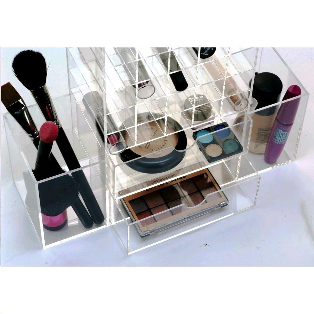Ikee Design® Premium White Acrylic Multi-functional Lipstick Tower Makeup Organizer