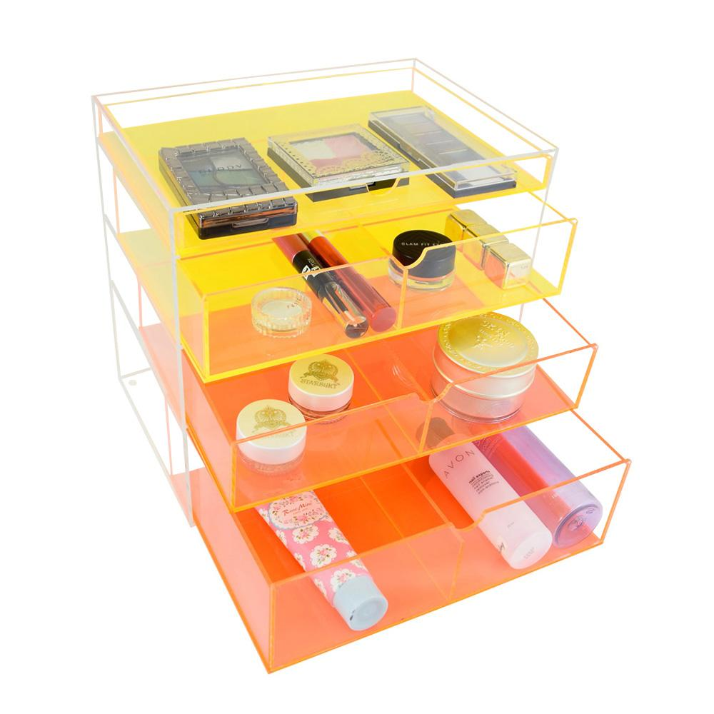 Ikee Design® Premium Neon Yellow Acrylic Makeup Storage Drawer Cosmetic Organizer
