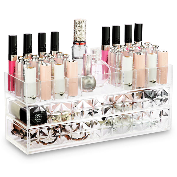IKEE DESIGN®: Acrylic Makeup Organizer with Diamond Pattern Drawers
