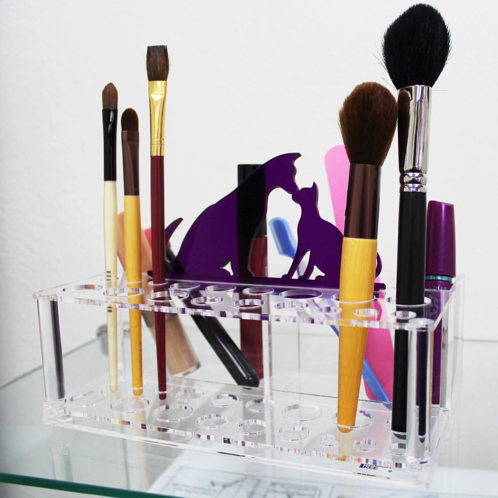Ikee Design® Premium Acrylic Makeup Brush Holder Office Organizer with Animal Sign