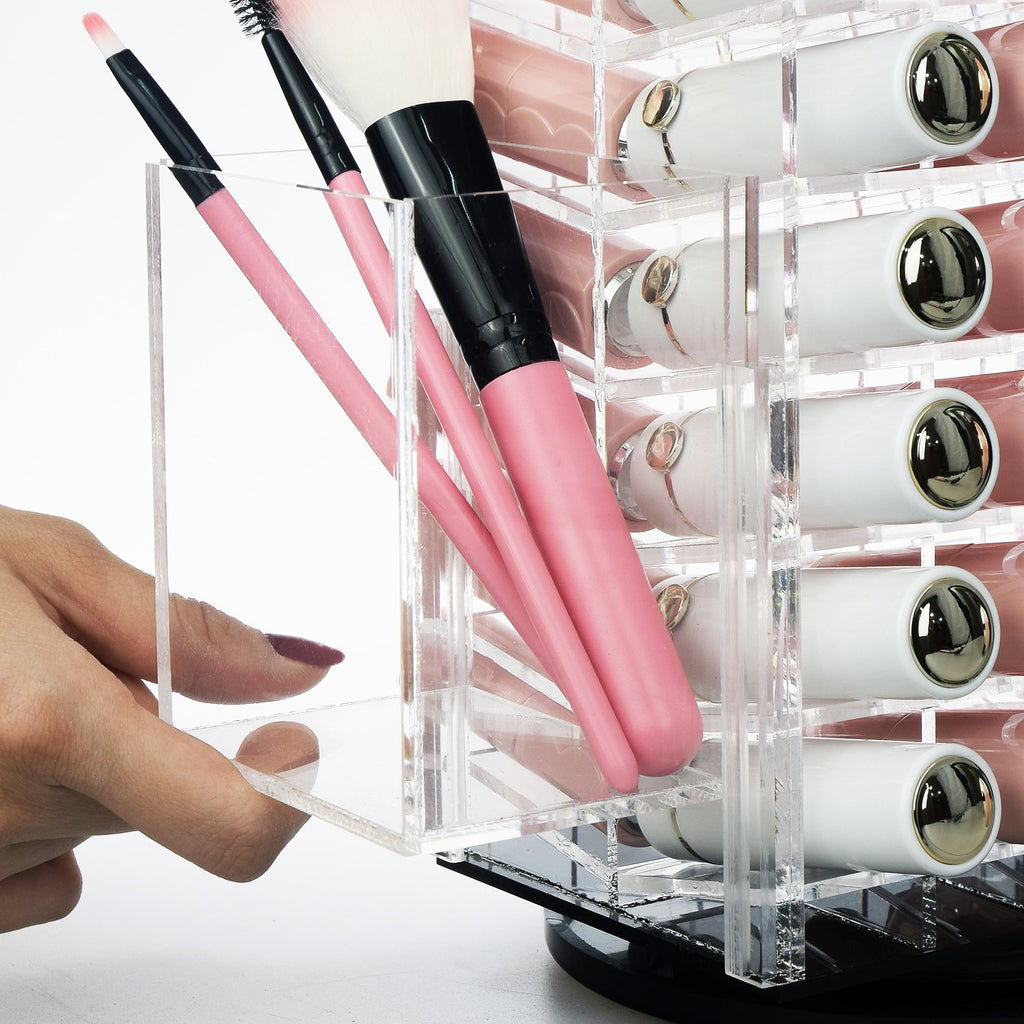 Ikee Design® Premium Acrylic Rotating Lipstick Tower Brush Holder