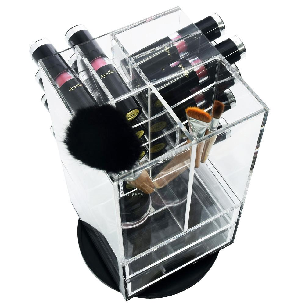 Ikee Design® Premium Acrylic Rotating Makeup Organizer Lipstick & Brush Holder