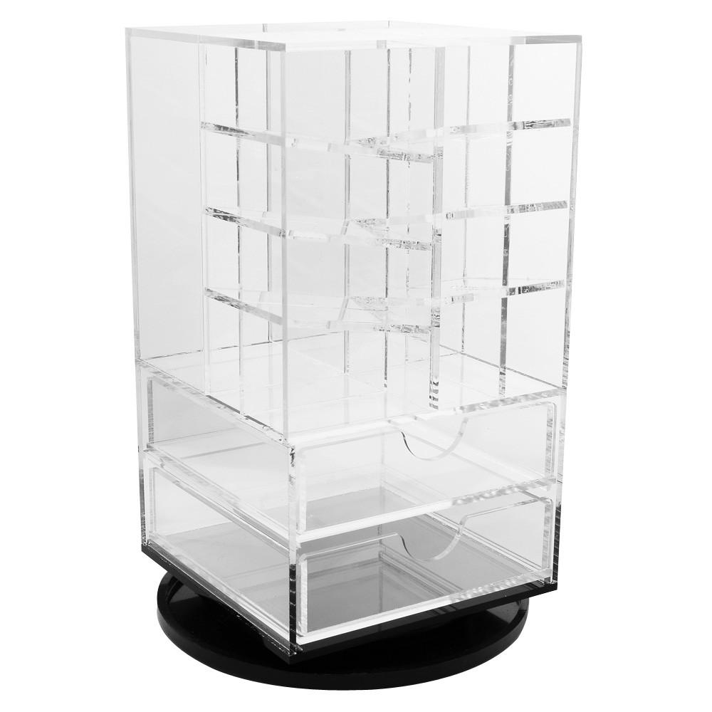 Ikee Design®Acrylic Rotating Makeup Cosmetic Lipstick Lip Gloss Rack Organizer Storage Tower Stand. Made in Taiwan