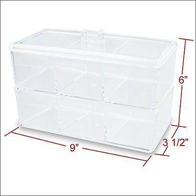 "Ikee Design®  2 Layer Acrylic Cosmetic and Jewelry Organizer with 6 compartments. 9"" W x 3 1/2"" D x 6"" H"