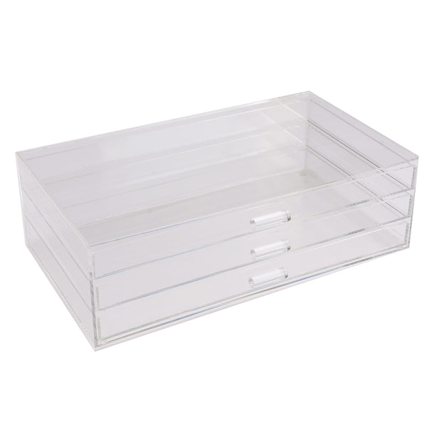 Ikee Design®Acrylic 3 Tier with 3 Drawer Cosmetic and Jewelry Organizer Display Chest