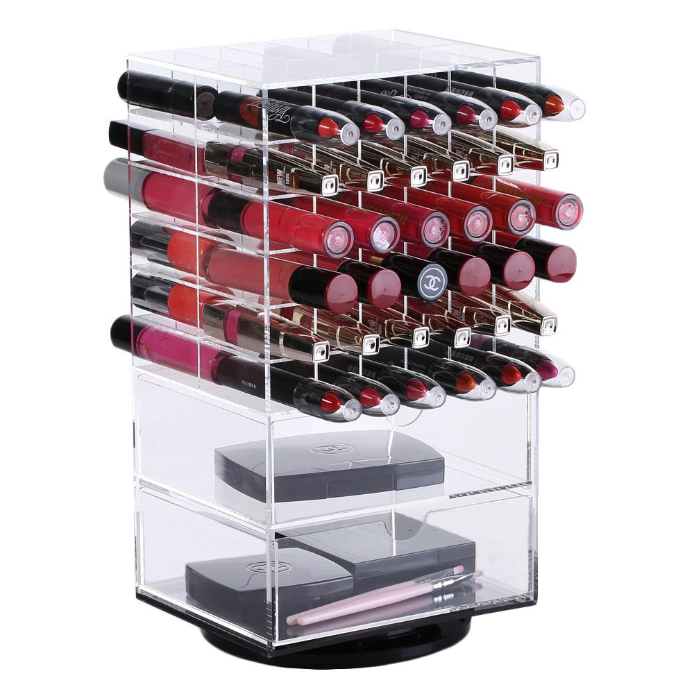Ikee Design® Large Acrylic Rotating Lipstick Holder with Two Drawers