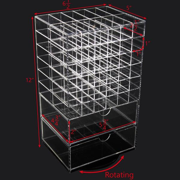 Ikee Design® Premium Large Acrylic Rotating Lipstick Holder with Drawers