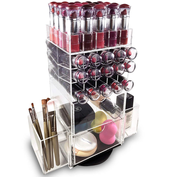 Ikee Design® Premium Acrylic Rotating Makeup Organizer Lipstick Tower Brush Holder