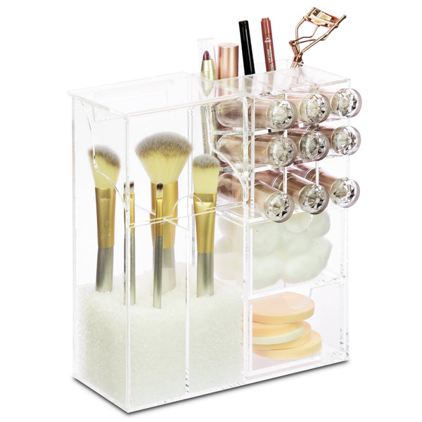 Ikee Design® Premium Acrylic Multi-functional Makeup Organizer Brush Holder