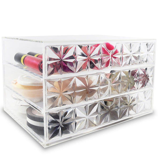 "Ikee Design®Acrylic Makeup Organizer Cosmetic Case Makeup Brush Holder Stand Home Organizer Jewelry Storage with Diamond Pattern Drawers 9 5/8""W x 7""D x 5 7/8""H"
