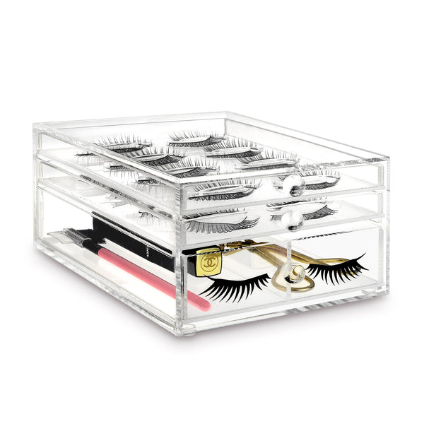 IKEE DESIGN®: ACRYLIC FALSE EYELASHES HOLDER & MAKEUP DRAWER ORGANIZER