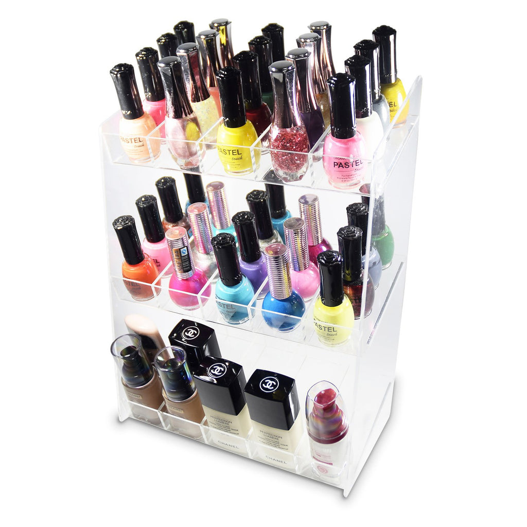 Ikee Design® Premium Acrylic 3-Shelf Nail Polish Rack for 60 Bottles
